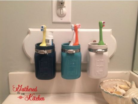 Diy mason jar toothbrush holder craft rooms mason jars for Bathroom jar ideas