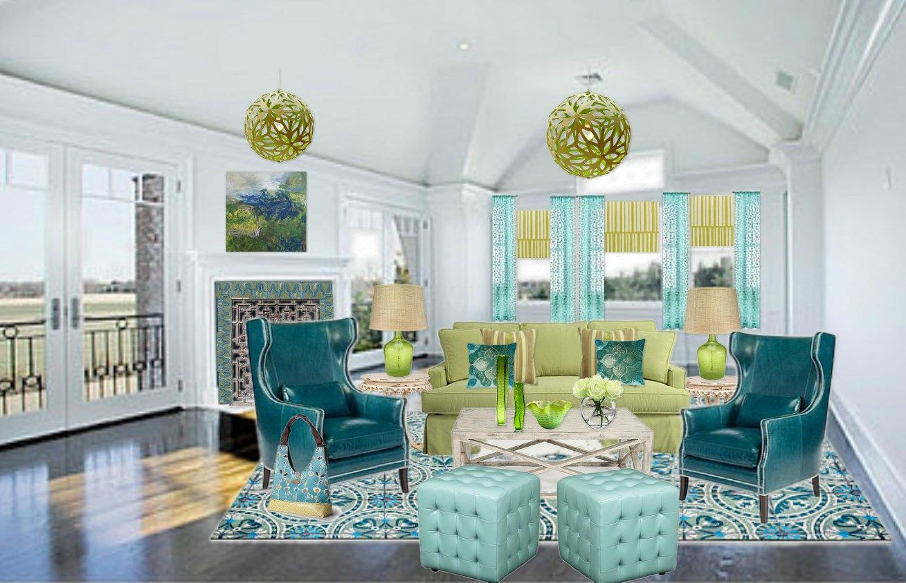 Living Rooms With Yellow Blue Green Orange Blue Green And Yellow Green Room Design By Charisse