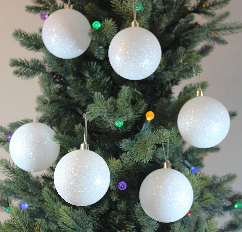 Amazon Com Festive Season White Snowballs Shatterproof Christmas Ball Ornaments White Christmas Ornaments Black Christmas Tree Decorations Christmas Ornaments