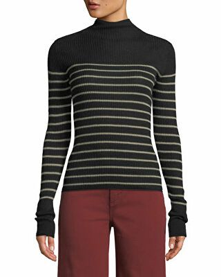 Vince Striped Mock Neck Cashmere Sweater | Cashmere sweaters