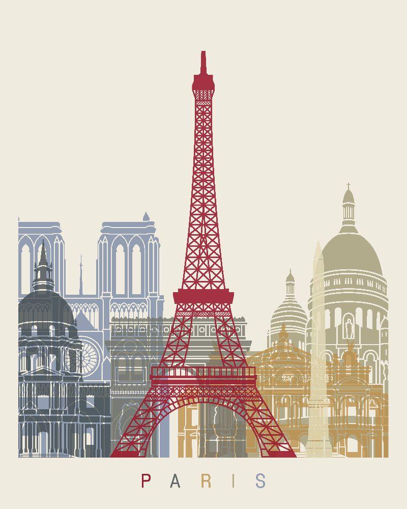 Paris Frankreich France Eiffelturm Eiffel Tower Paris Illustrationen Retroposter Paris
