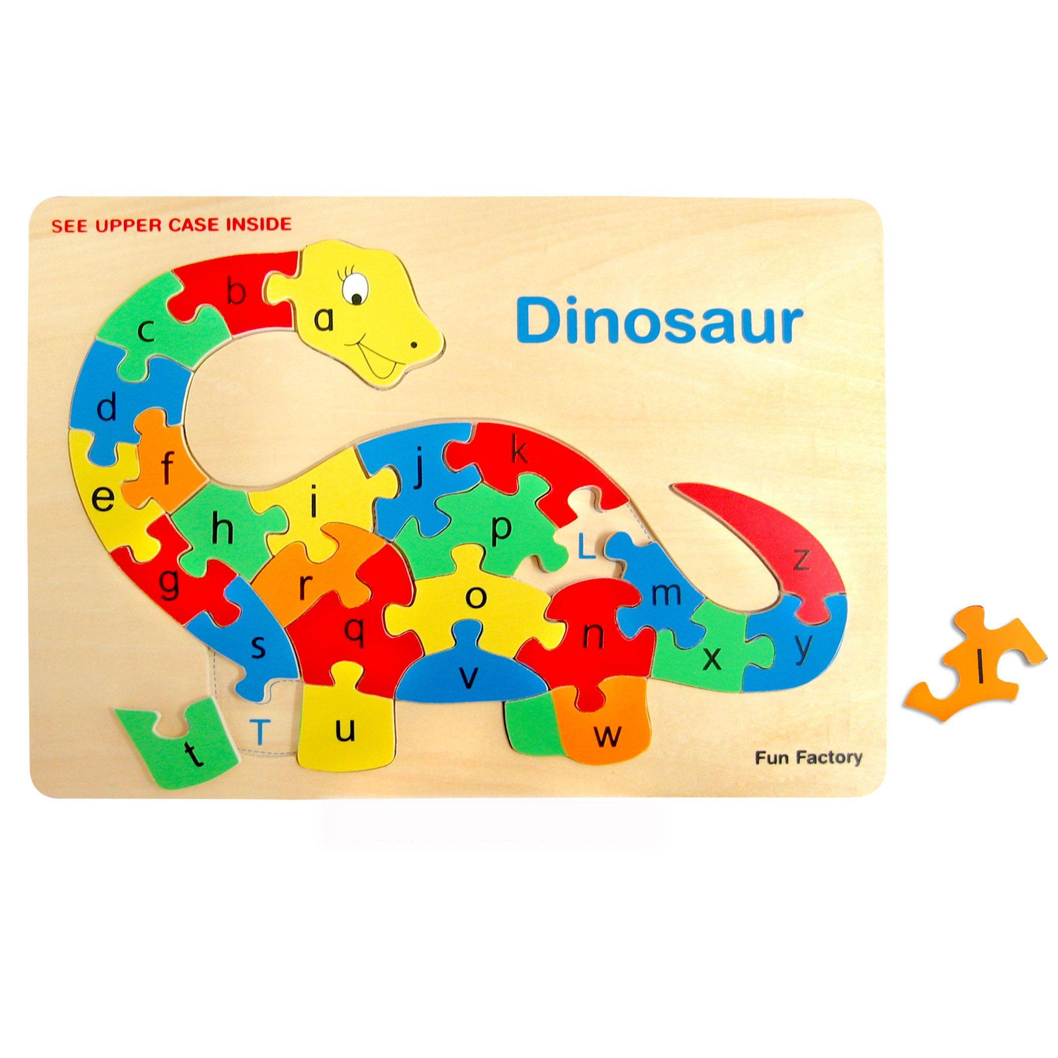 Wooden Alphabet Dinosaur Raised Puzzle by Fun factory