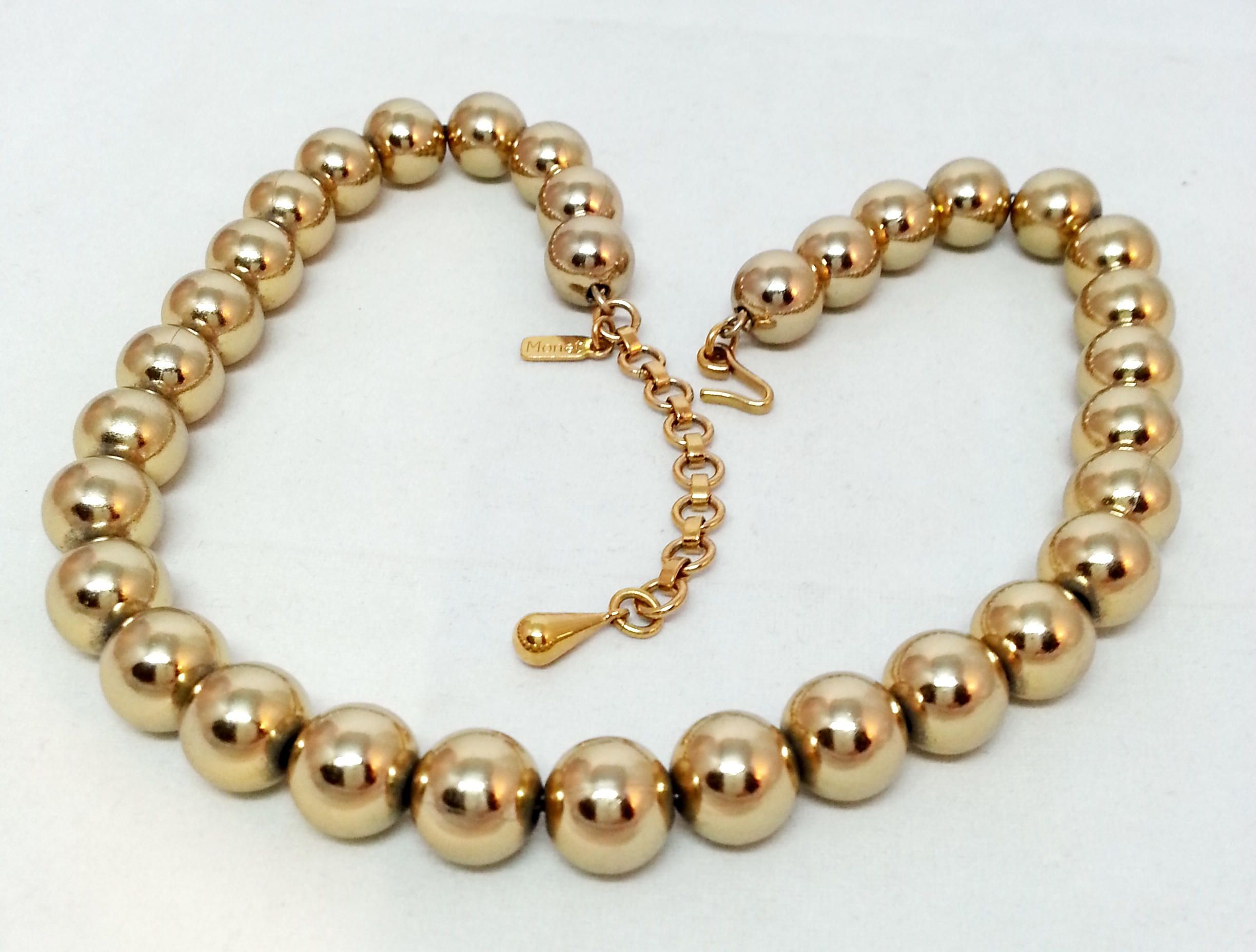 Monet Gold Metallic Beaded Choker Necklace Signed Vintage Designer
