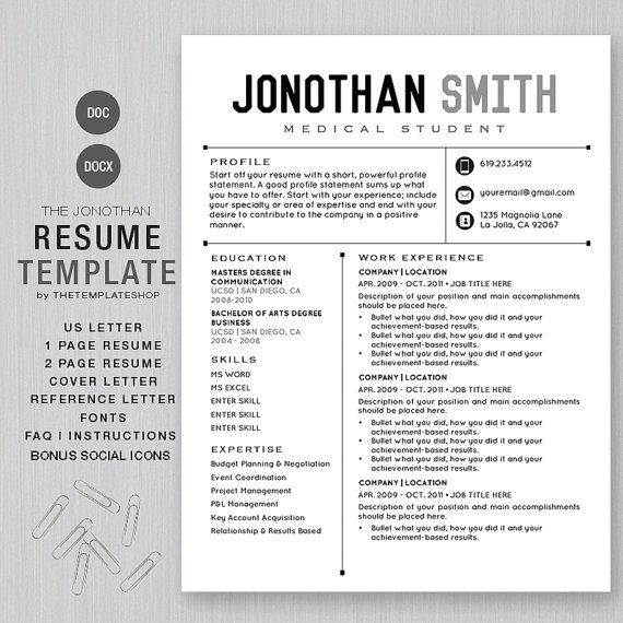 Instant Resume Templates Resume Template Cv Template For Word And Pages  The Jonothan  1