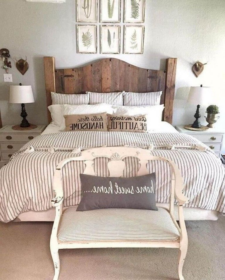 32 Pleasing Farmhouse Bed Ideas To Modify Your Bedroom In 2020 Remodel Bedroom Farmhouse Bedroom Decor Master Bedrooms Decor