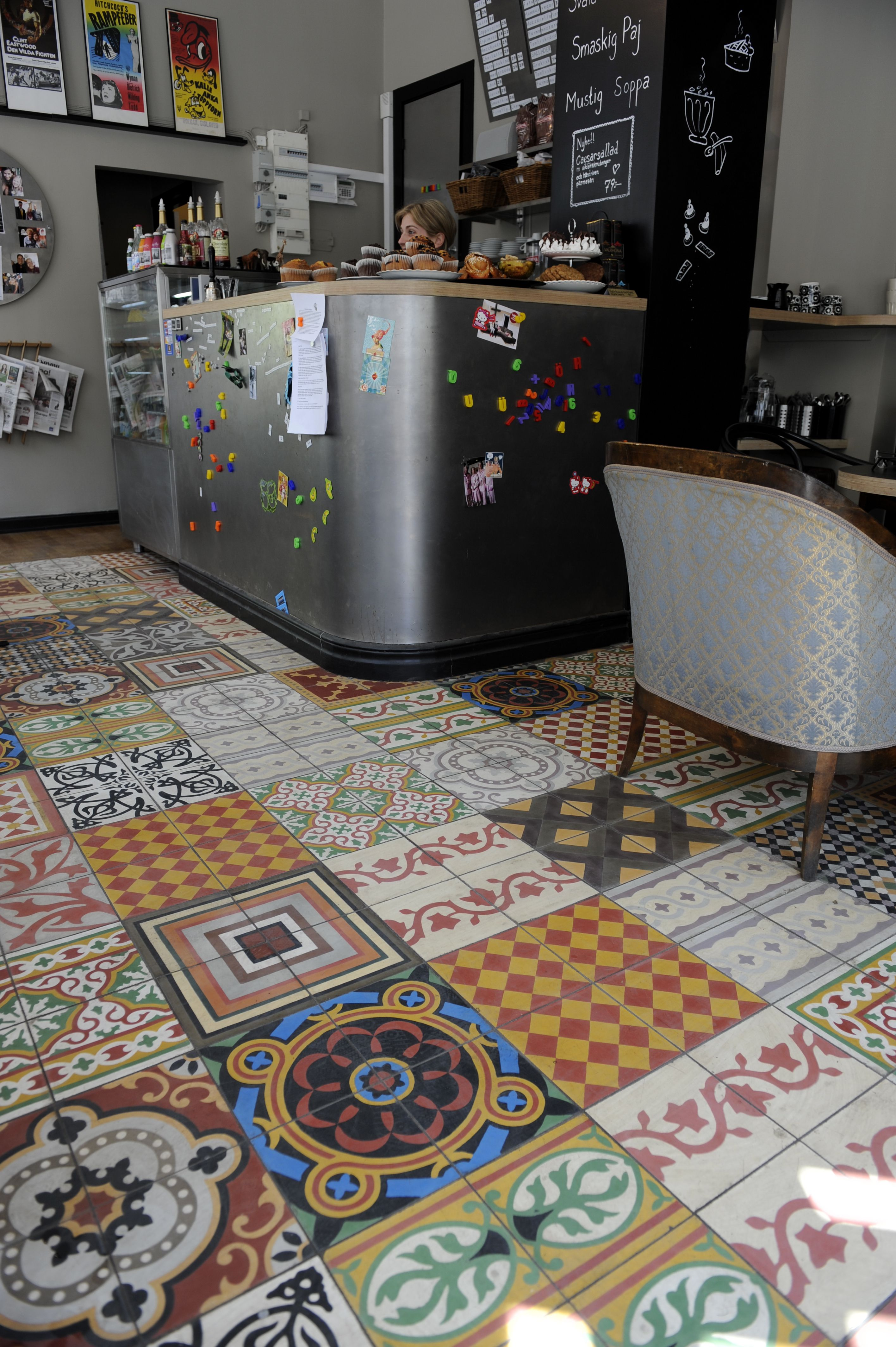 Would love such a tile patchwork around the house somewhereFor