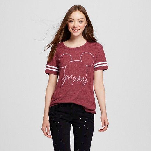 Women's Disney® Mickey Mouse Graphic Tee Burgundy (Juniors') : Target