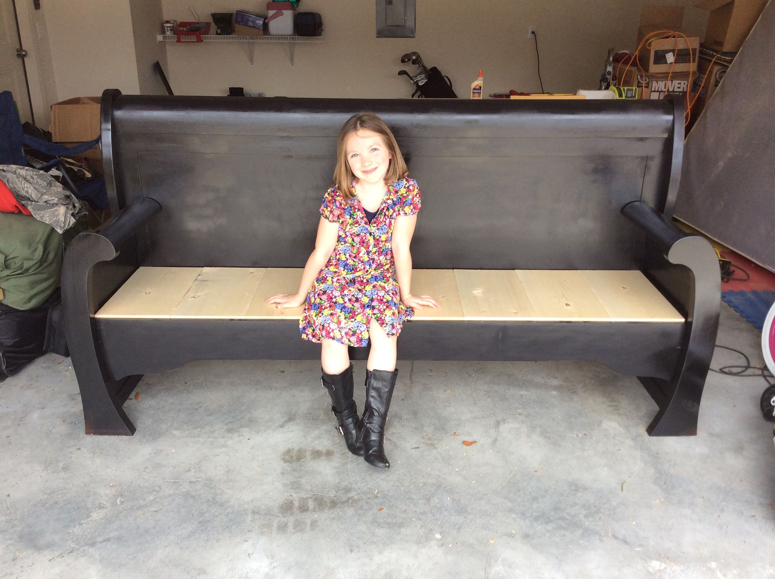 King Sleigh Bed Turned Into Outdoor Bench For The Home