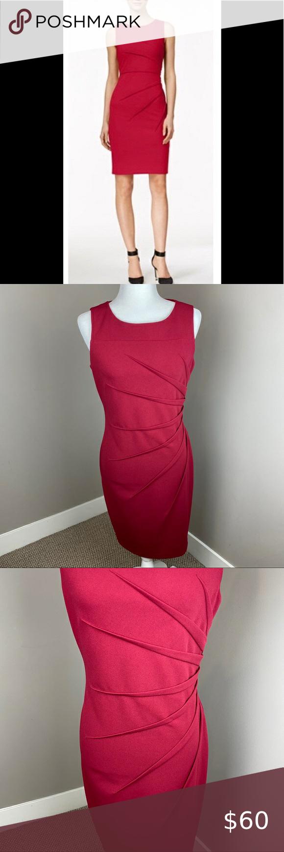 Calvin Klein Sunburst Side Ruched Sheath Dress In 2020 Calvin Klein Sheath Dress Calvin Klein Dress
