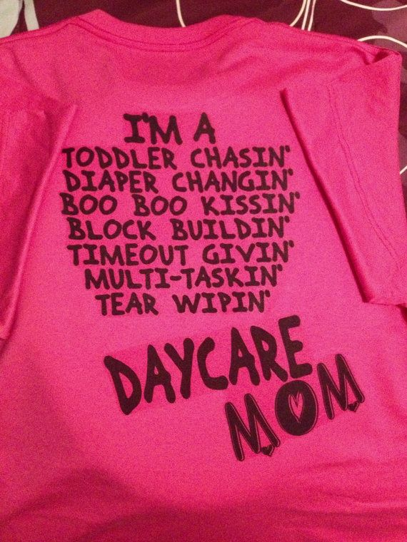 13c254c2 Hot Pink Daycare Mom Duties Crew Tshirt (Personalized with name on front)  (Can be done on other colors and other professions and or sports moms)