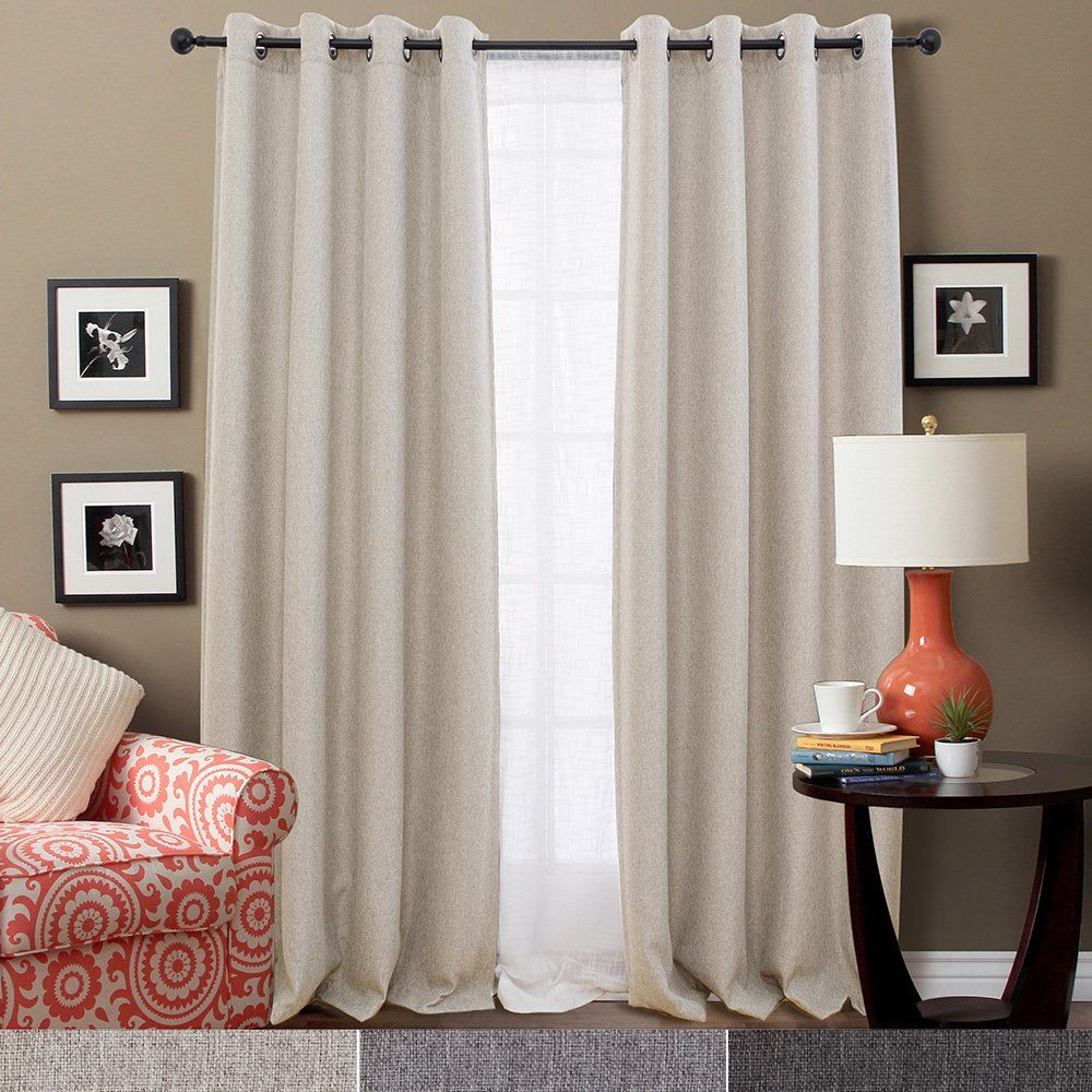 Blackout curtains for bedroom - Jinchan Thermal Insulated Faux Linen Room Darkening Curtains For Bedroom 63 Inch Long Moderate Blackout