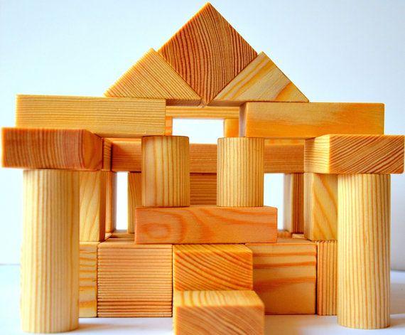 50 Natural Wooden Blocks for Children, handmade wood toy