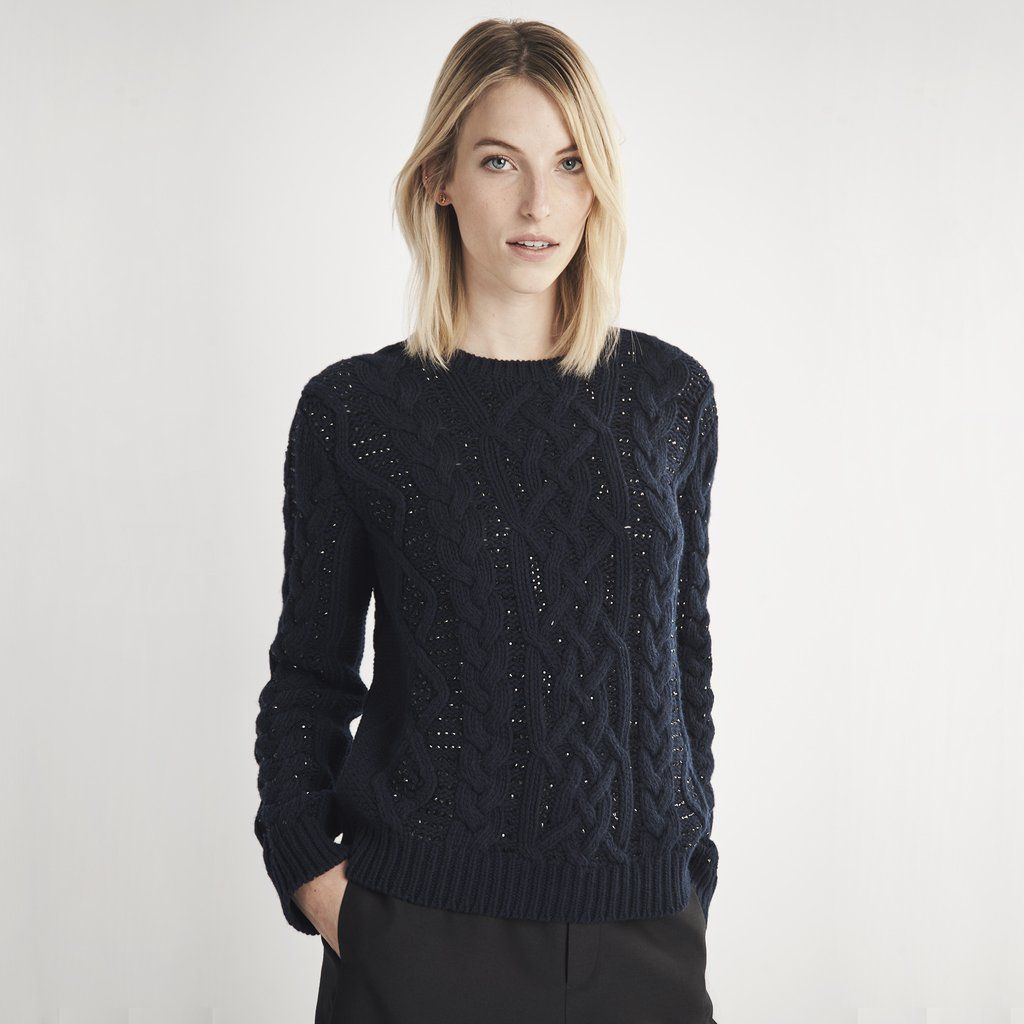 Woven-in stones make this exquisitely soft navy wool cable-knit ...