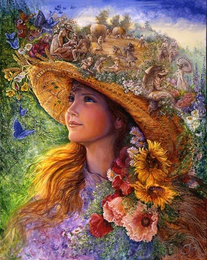 Bygone Summers    On a warm midsummer day, the young girl enjoys the sun on her face, while her shady hat is filled with the essence of summer times. The straw becomes a cornfield abounding with wild flowers and butterflies, and little scenes of idyllic rural life.