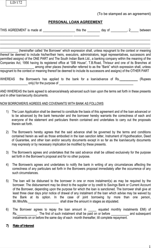 Personal Loan Agreement Form TemplatesForms Pinterest - Scrub Nurse Cover Letter