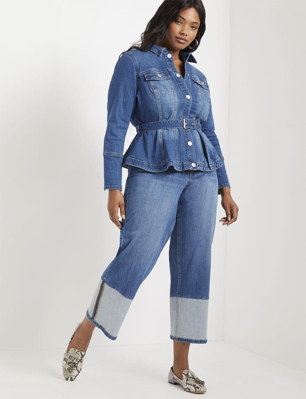 Belted Peplum Denim Jacket Women S Plus Size Coats Jackets Eloquii Denim Jacket Women Feminine Denim Jacket Plus Size Peplum [ 1370 x 1050 Pixel ]