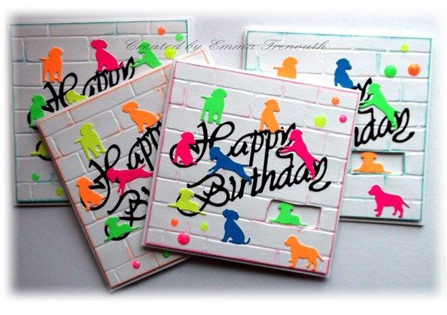 Neon doggies Birthday cards, Stampin Up Brick embossing folder