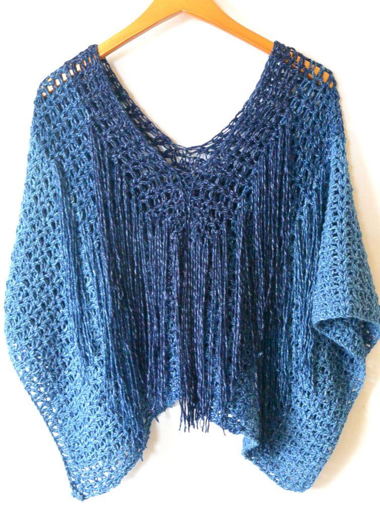 Azul V Mesh Easy Crochet Poncho Pattern Crochet Poncho Easy