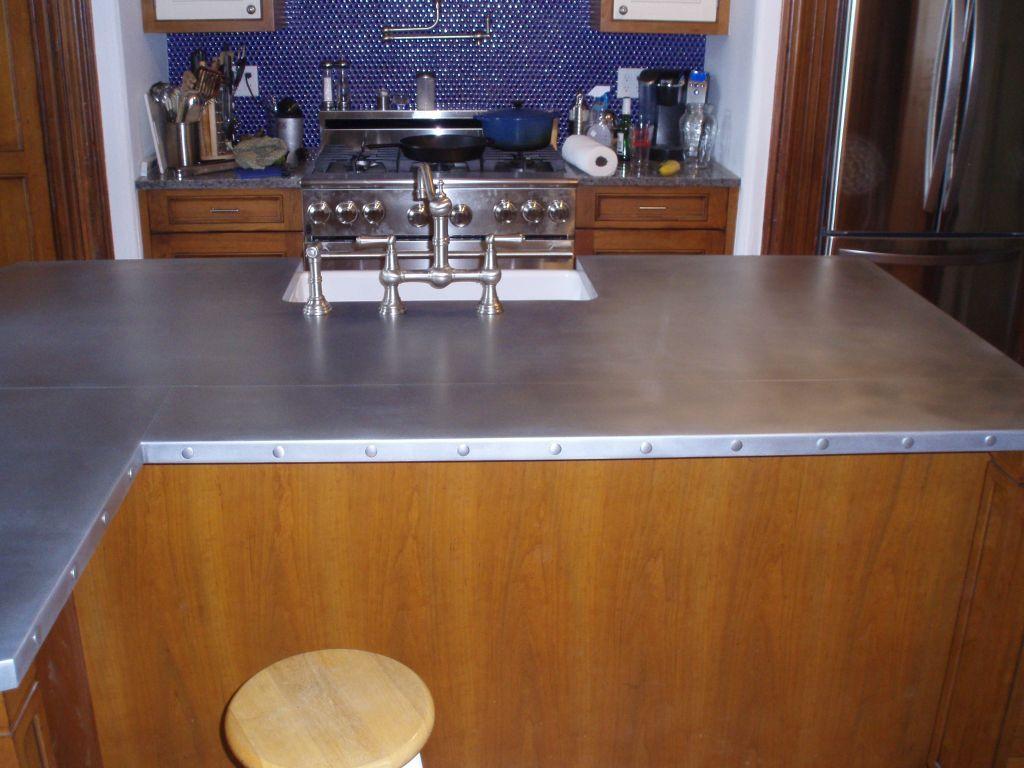 zinc countertop with rivets brooks custom brookscustom com zinc countertop rivets kitchen on kitchen zinc id=62154