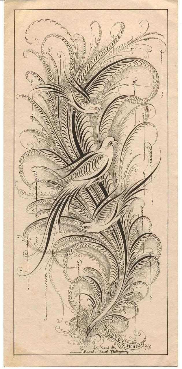 E C Enriquez Calligraphy Saz Yolu Uslubu Kus Cizimleri