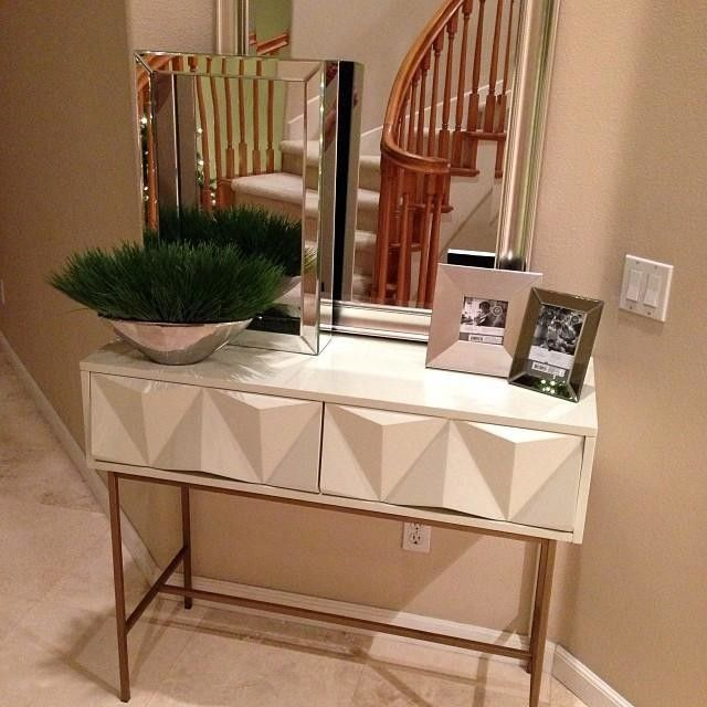 Sculpted Geo Console Parchment Modern Drawers Furniture Home