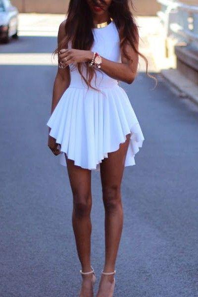 Sexy Mini Dress O Neck Tank Asymmetrical White Spandex<br/><div class='zoom-vendor-name'>By <a href=http://www.ustrendy.com/VanillaMood>Vanilla Mood</a></div>