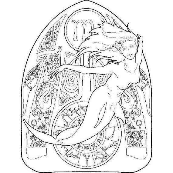 Mermaid coloring page zodiac 08 Scorpio Colour book Markers