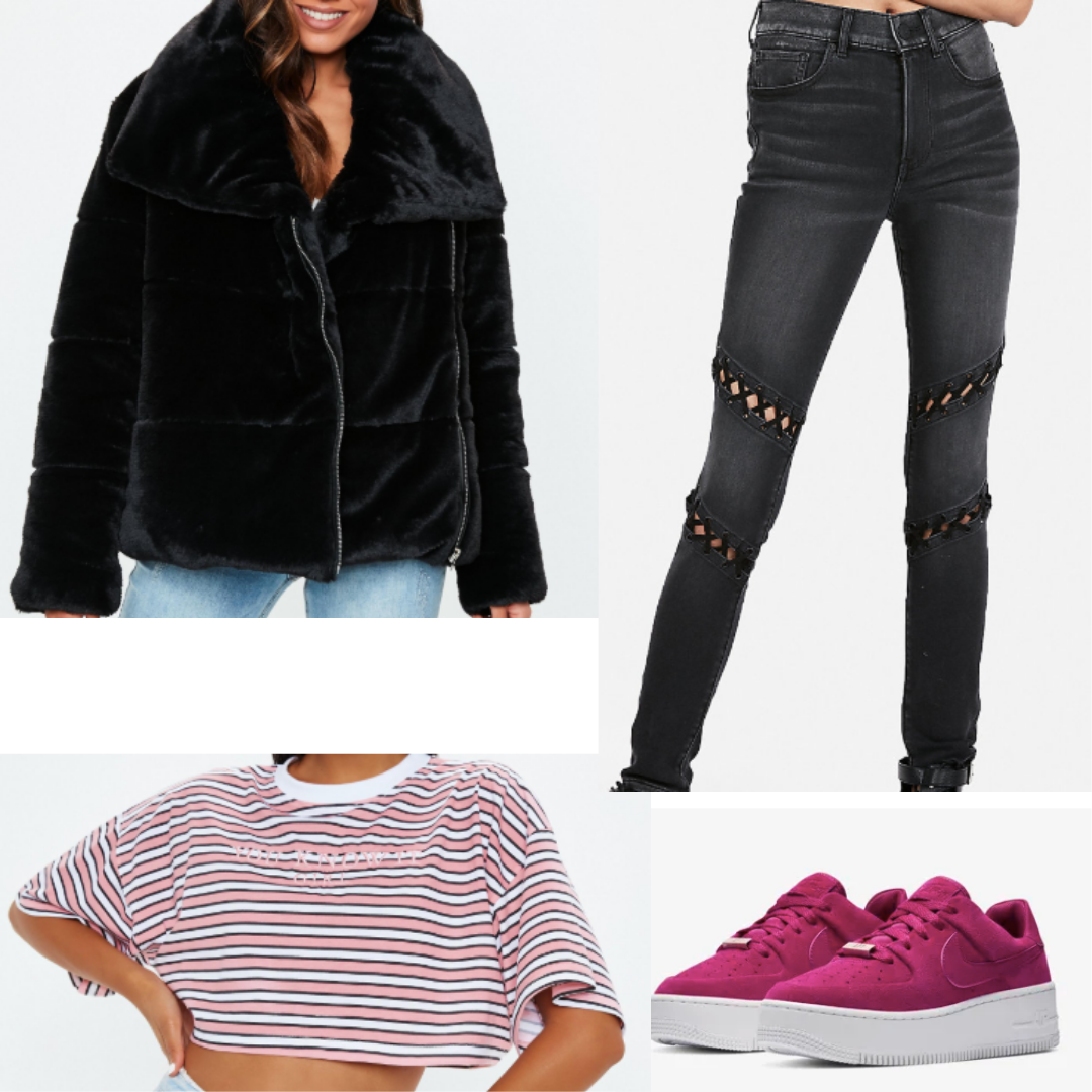 Black Velvet Puffer Jacket Paired With Black High Waisted Jeans With Ties Above And Below The Knees A White Fashion High Waisted Black Jeans College Fashion [ 1080 x 1080 Pixel ]