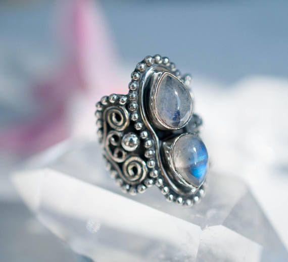 Rainbow Moonstone 925 Sterling Silver Ring; Solitaire Natural Gemstone Handmade Jewellery Gifts 6KCxdV