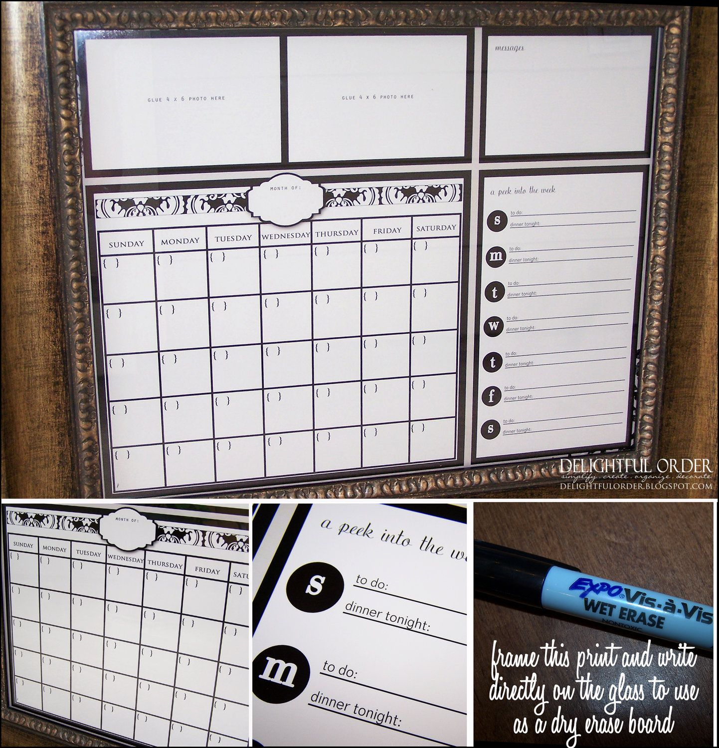 Digital Dry Erase Calendar  16X20 Red Damask Everyday Message