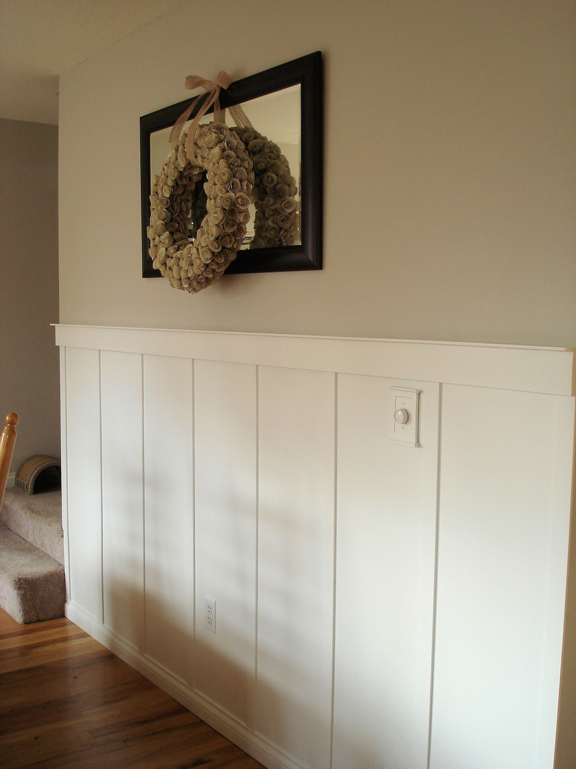 Di diy wainscoting dining room - Board And Batten Wainscoting For Stairwells Add Accent Colour Above Keep B Cream Or