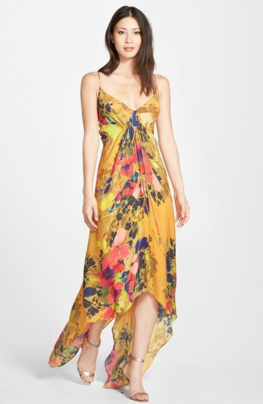Nicole Miller Floral Print Silk Maxi Dress | Print..., Floral and ...