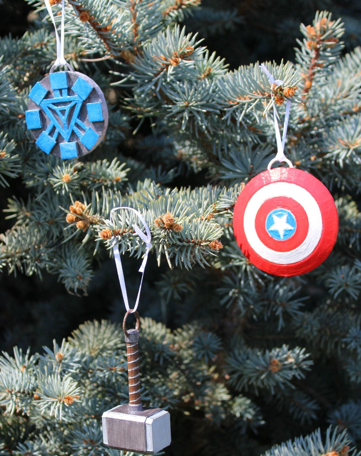 Marvel Christmas Or Everyday Ornaments Thor Ironman Captain America Set Of 3 By Handmaidscrafts On Etsy In 2020 Christmas Decorations Christmas Gift Toppers