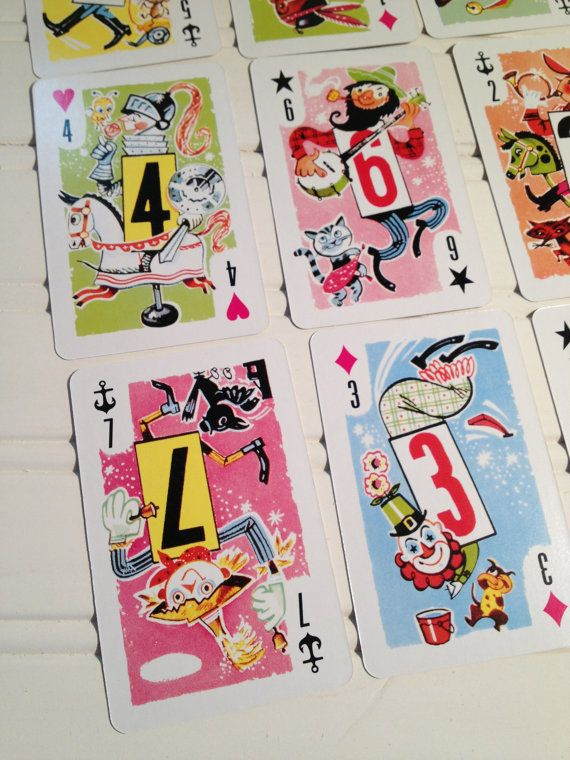 CHILDREN'S Whitman Playing Cards 10 Vintage by TheBrownPear
