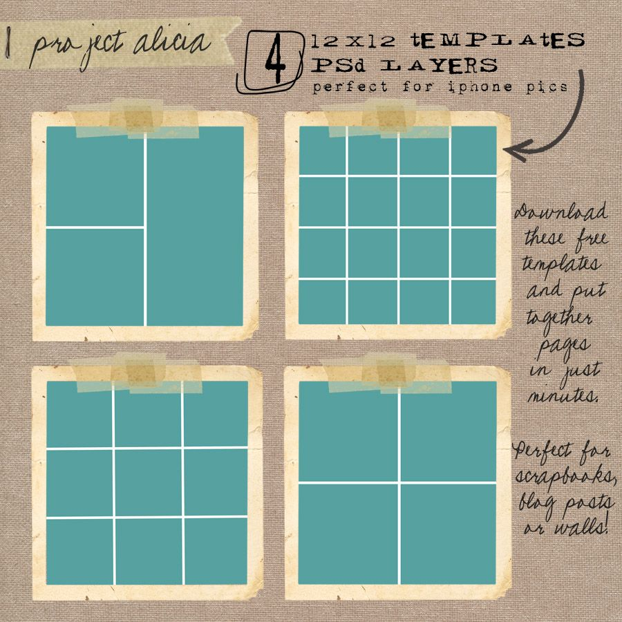 Free Set Of Four 12x12 Templates Photoshop Collage Template Photo Collage Template Photo Album Scrapbooking