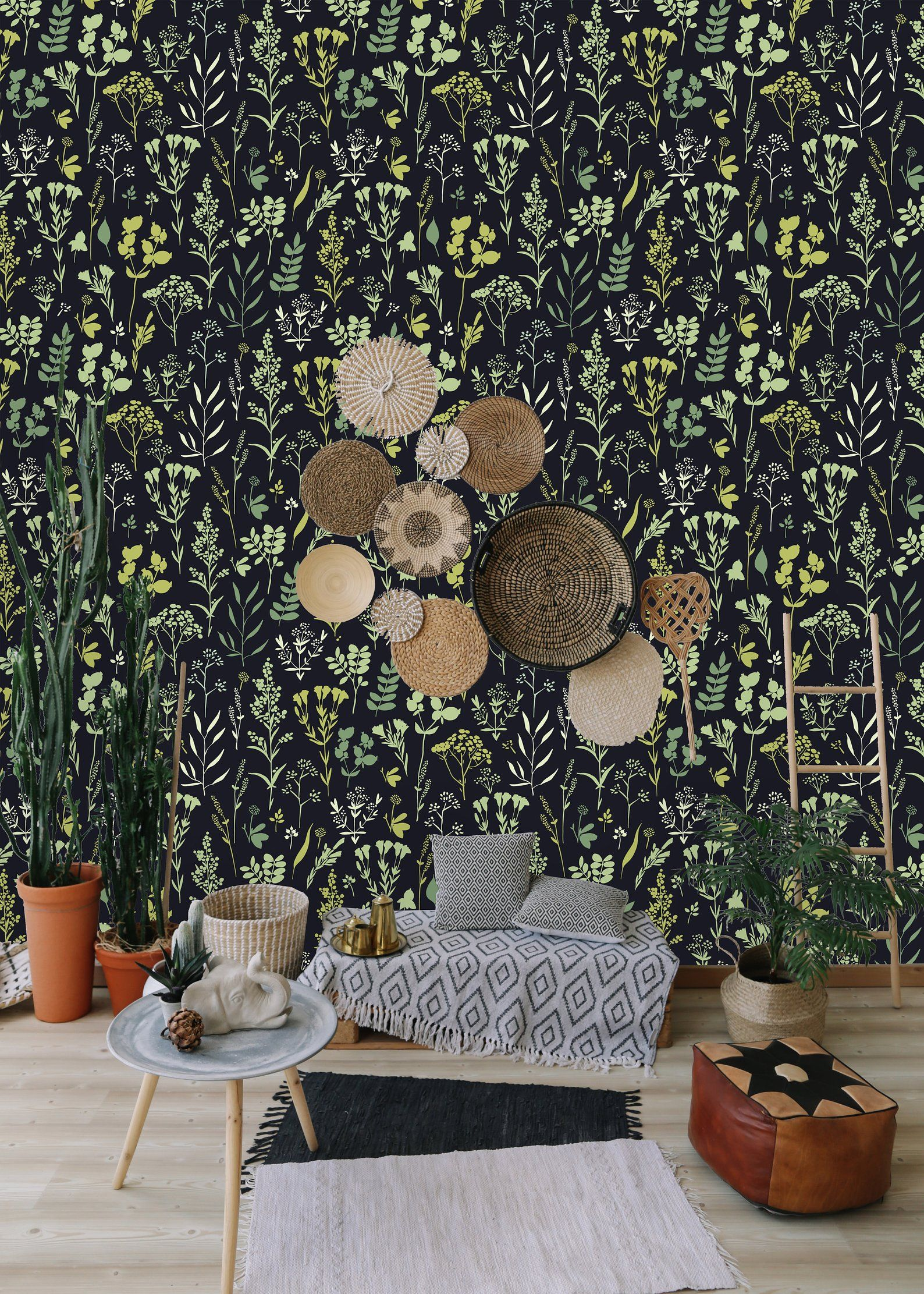 Herbs And Floral Motifs Removable Wallpaper Peel And Stick Etsy Wall Wallpaper Removable Wallpaper Wall Murals