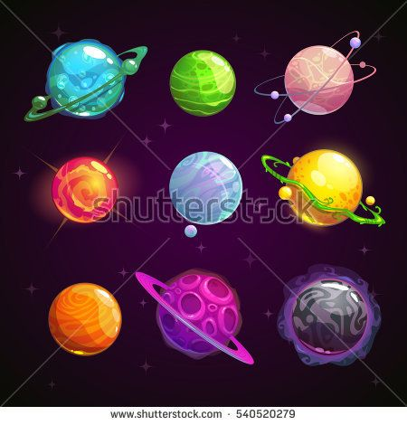 Colorful cartoon fantasy set on space background