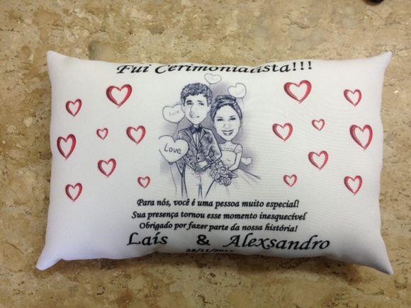 Almofada Lembrança Casamento Padrinhos