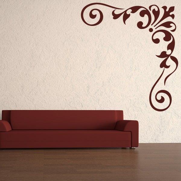 Floral Corner Swirl Wall Sticker Corner Wall Decor Sticker Decor Wall Stickers