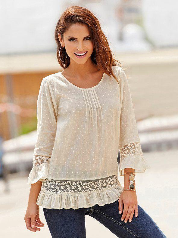 7e9eec3bea4ef Blusa romántica mujer de algodón con entredós de encaje y volantes