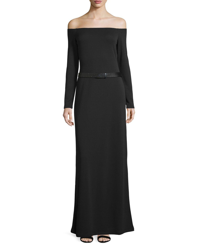 Offtheshoulder belted evening gown black womenus size