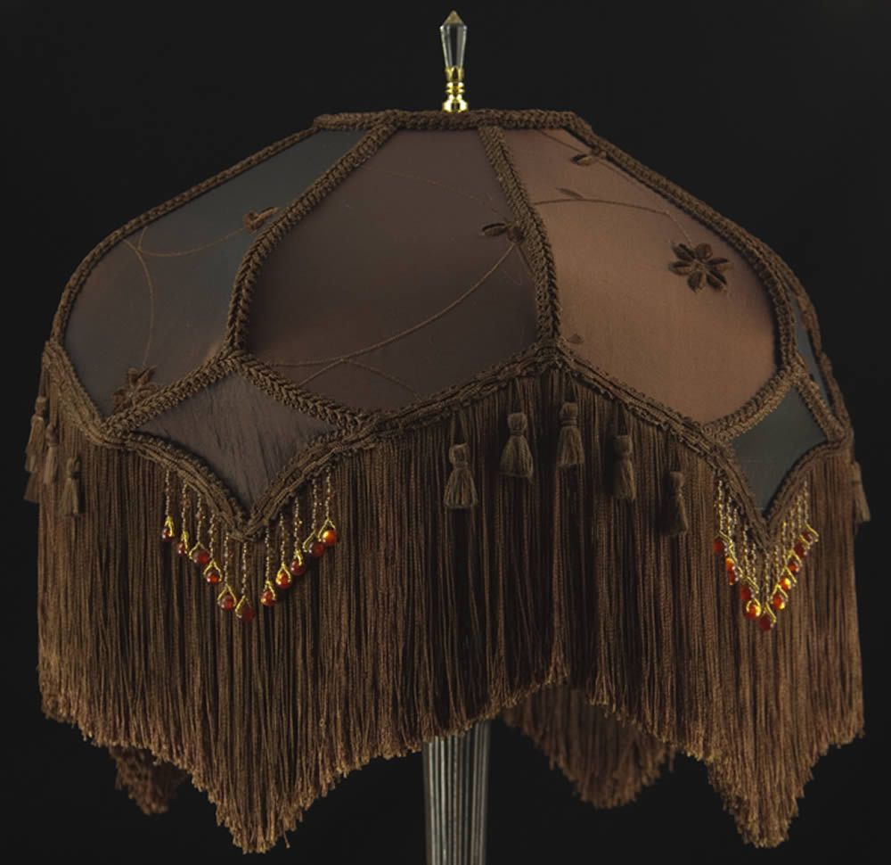Victorian lamp shade brown embroidered faux silk fabric and victorian lamp shade brown embroidered faux silk fabric and paprika beading mozeypictures Gallery