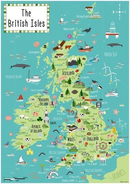 carte des iles britanniques ILES BRITANNIQUES   PAYS : ANGLETERRE   IRLANDE   ECOSSE en 2020