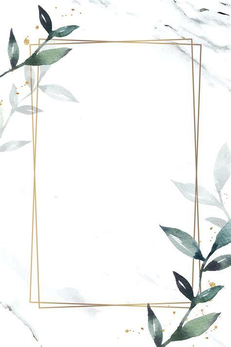 Leafy Rectangle Golden Frame Vector   Premium Vector
