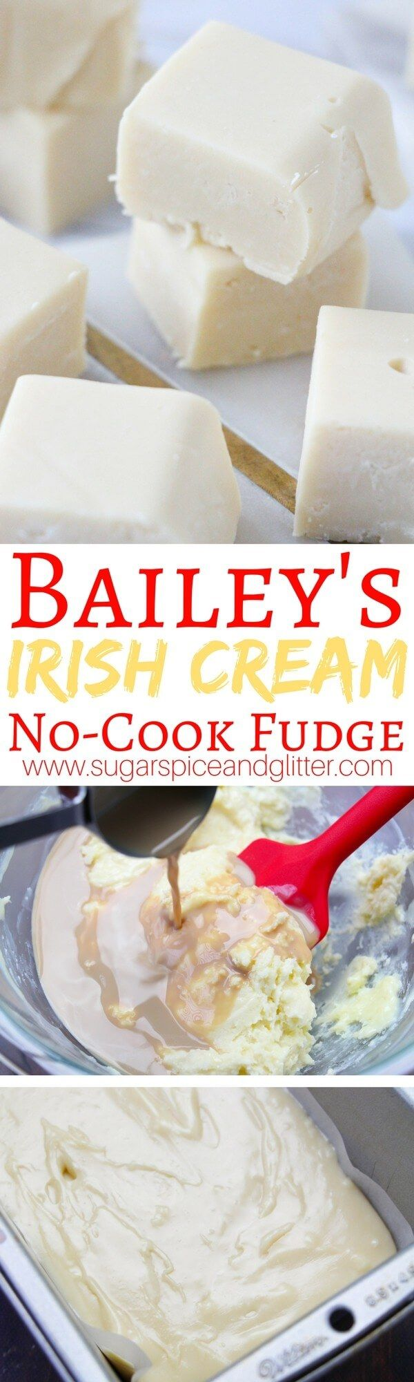 A creamy and delicious no-cook fudge made with Bailey's Irish Cream. A delicious homemade gift for Christmas or St Patrick's day treat just for grown-ups