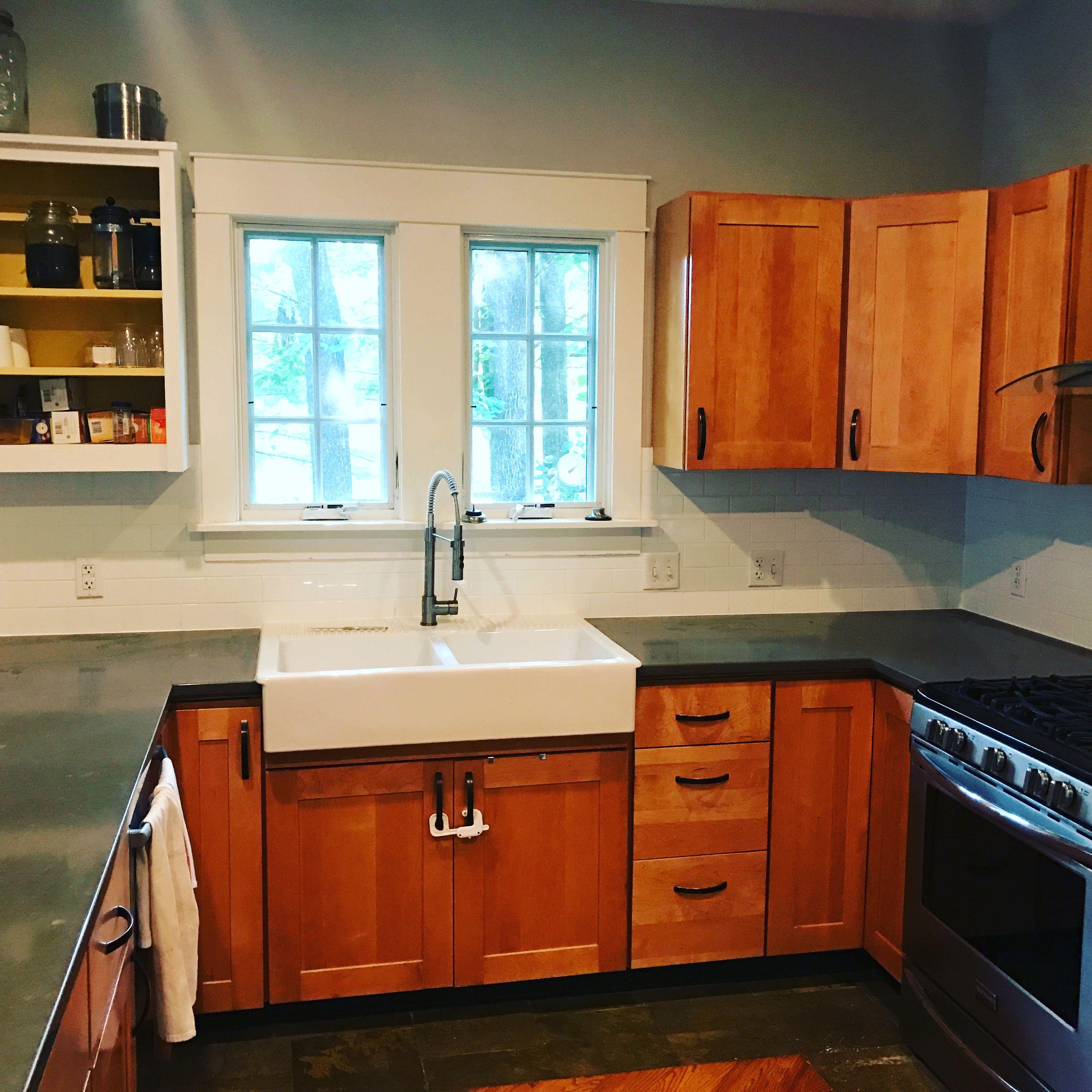 Kitchen upgrade. Gray quartz countertops, maple cabinets ... on Maple Kitchen Cabinets With Quartz Countertops  id=40637