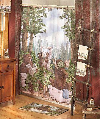 Woodland Moose Bears In The Woods Shower Curtain Bathroom Bath Decor