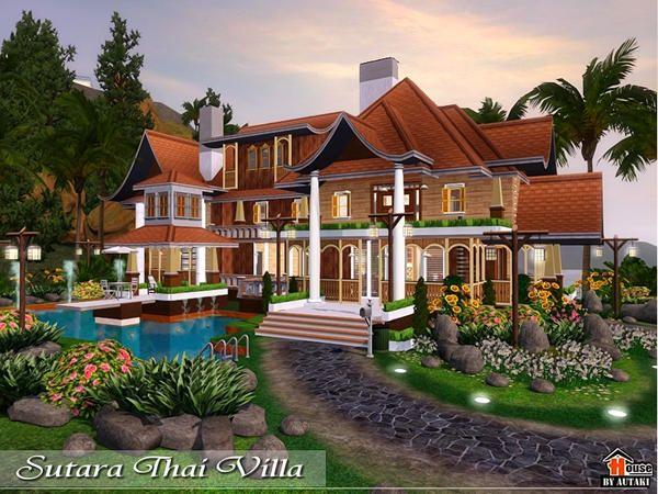 Sutara Thai Villa By Autaki Sims 3 Downloads Cc Caboodle Sims Sims Building Villa