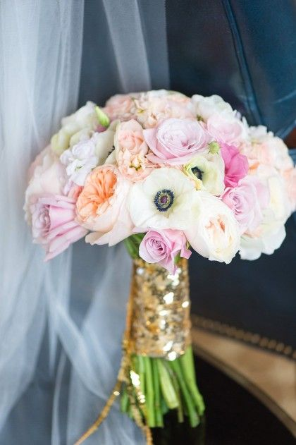 blush pink bouquet with anemones mixed in + sparkle bouquet wrap.