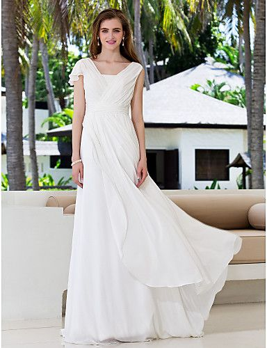 A-Line V-neck Sweep / Brush Train Georgette Wedding Dress with Sash ...
